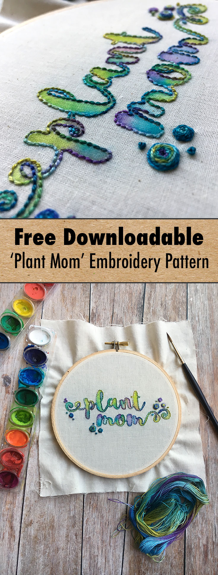 "Download this free ""Plant Mom"" embroidery pattern!"