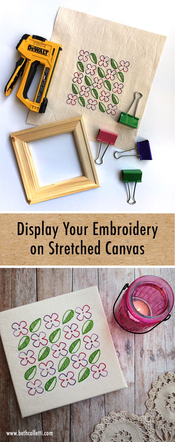 The Easiest & Fastest Way to Display Embroidery on Stretched Canvas