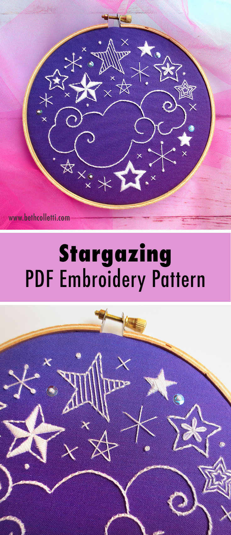 Stargazing constellation embroidery pattern using sequins and colonial knots