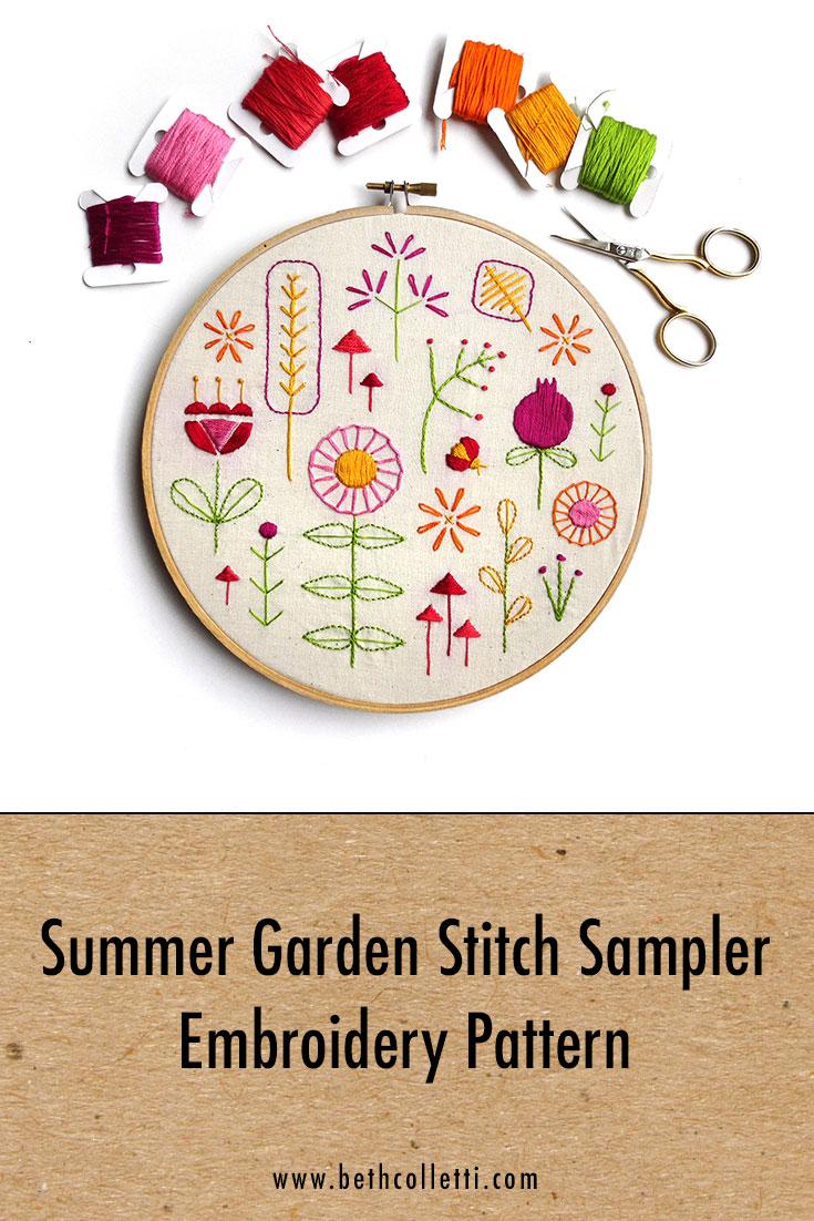 Summer Garden Stitch Sampler Embroidery Pattern
