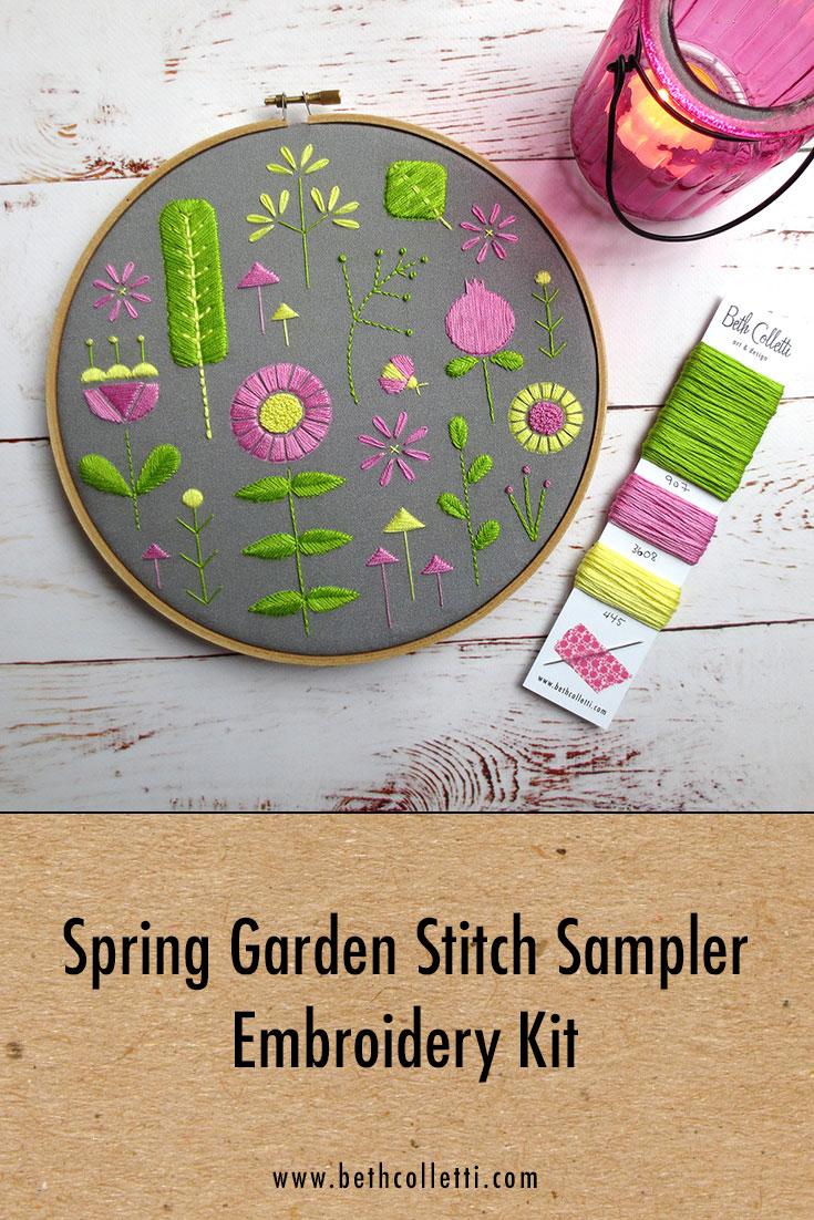 Spring Garden Stitch Sampler Embroidery Kit