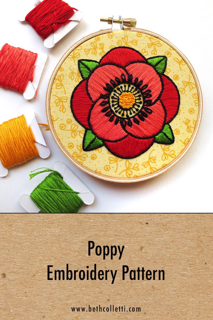 Poppy Embroidery Pattern
