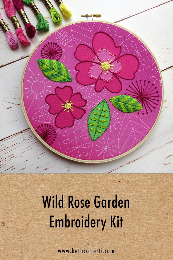 Wild Rose Garden Embroidery Kit