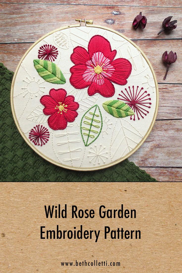 Wild Rose Garden Embroidery Pattern