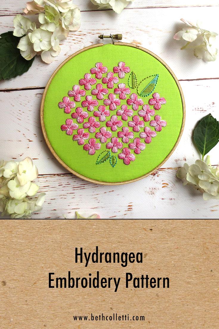 Hydrangea Embroidery Pattern