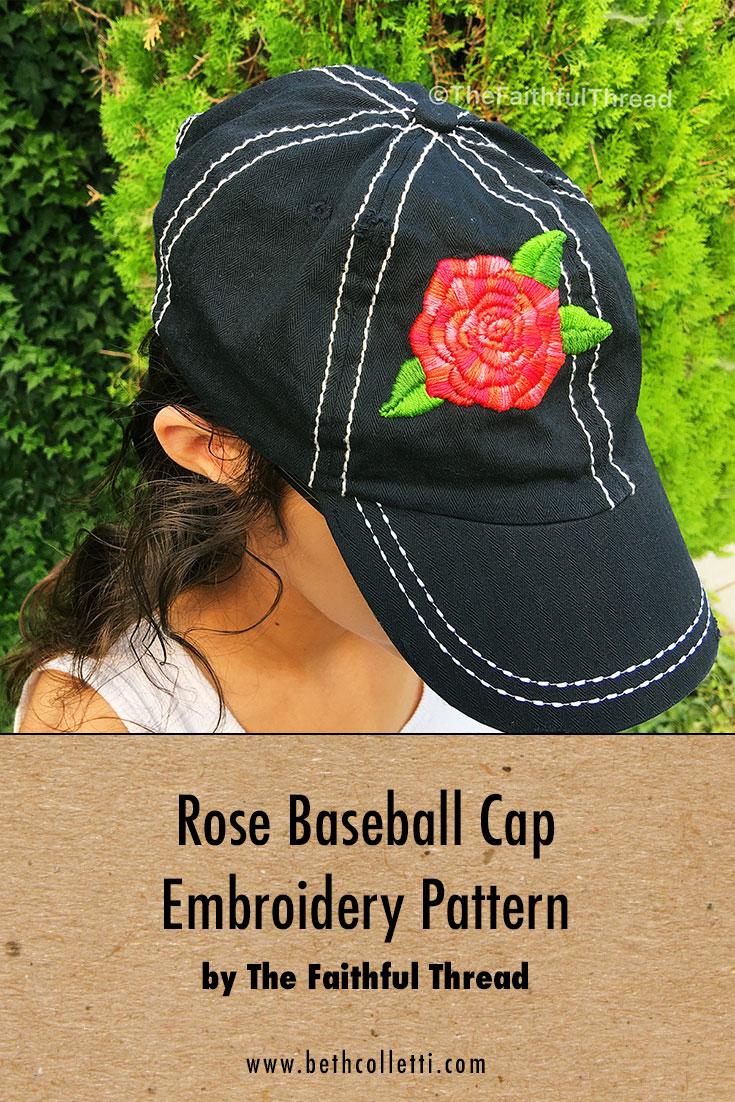 Rose Baseball Cap Embroidery Pattern