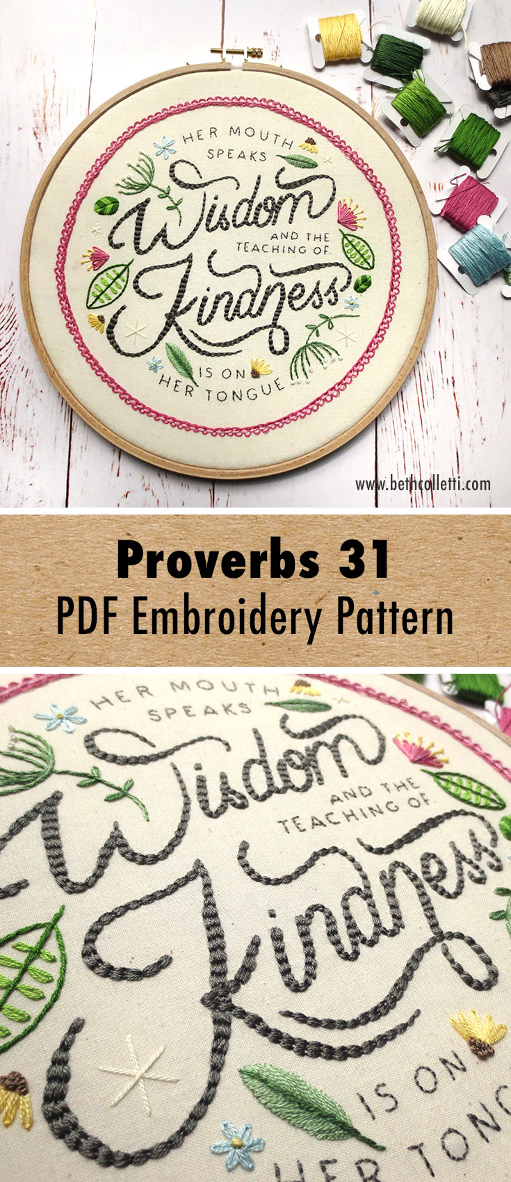 Proverbs 31 Stitchalong Embroidery Pattern