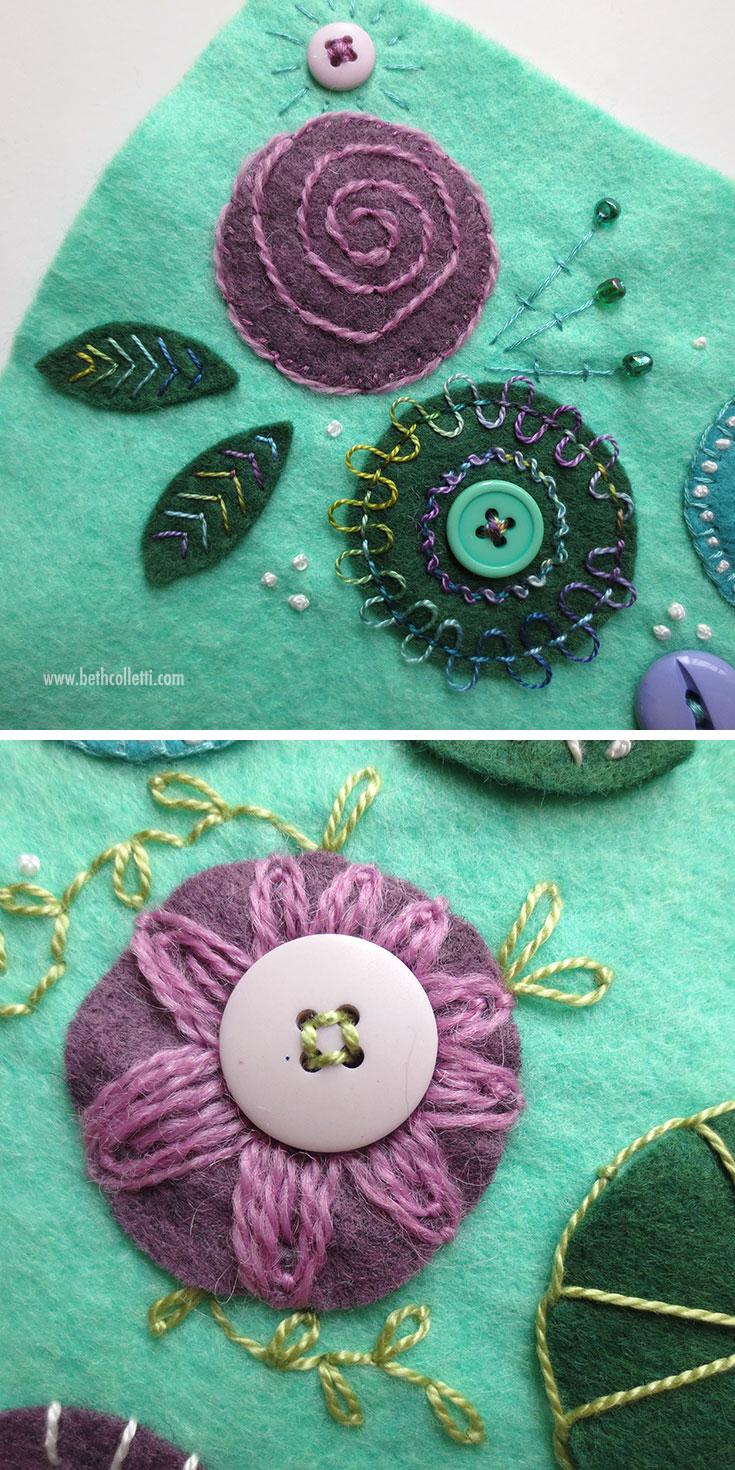 Felt pieces attached using the whipstitch, blanket stitch, back stitch, fly stitches, buttons and more.