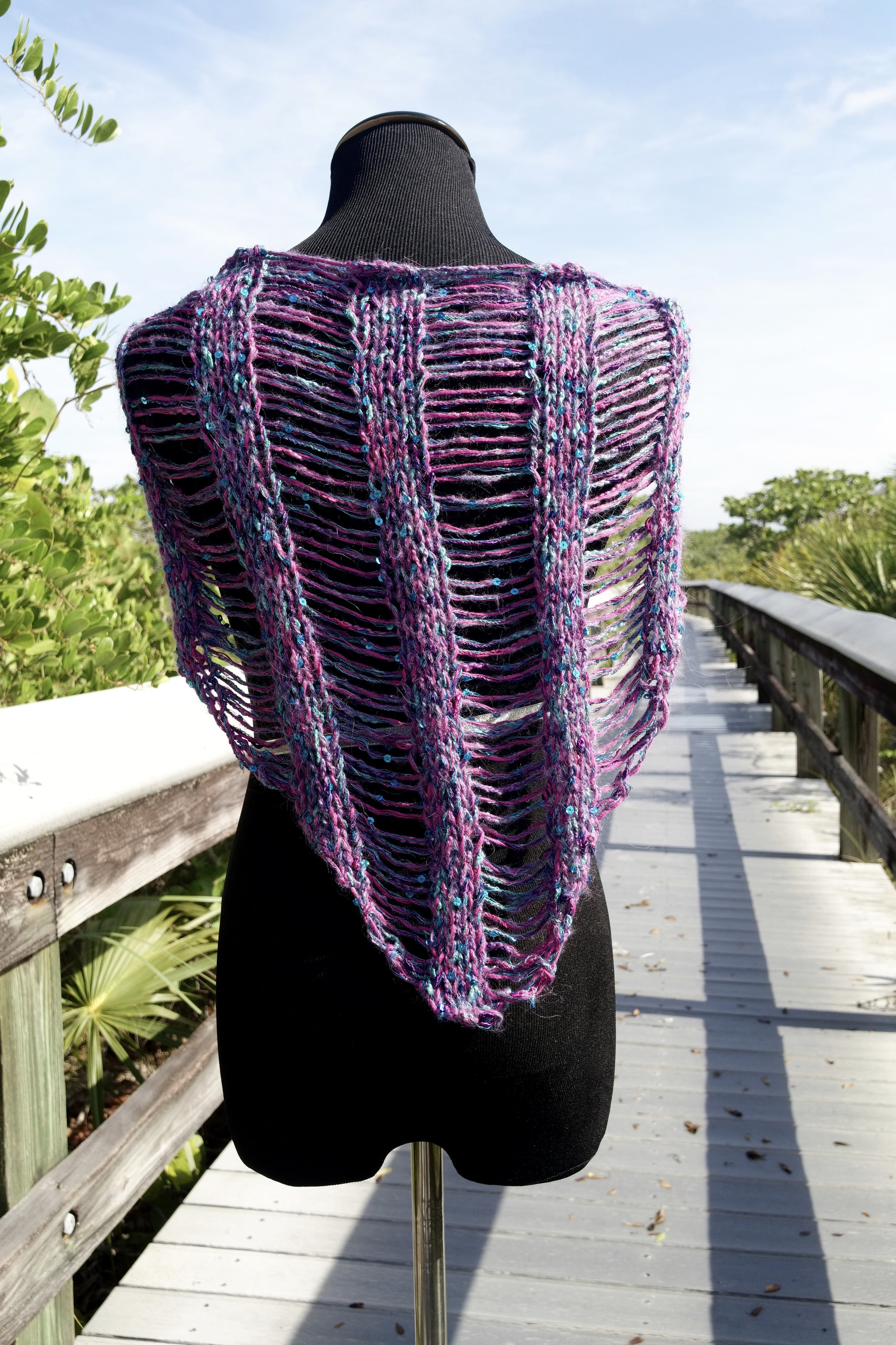 Click here for Be So Wild Yarn Knit Drop Stitch Shawlette FREE Pattern