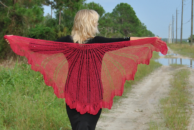 Click here for Be So Fine Yarn Razor Shell Knit Lace Shawl FREE Pattern