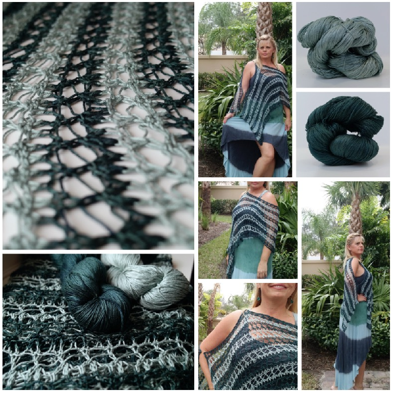 Click here for Be So Sporty Yarn Simply Striped Knit Lace Shawl FREE Pattern