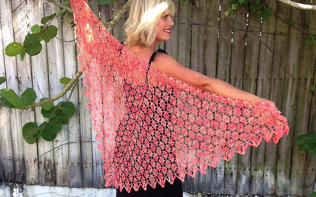 Click here for Be So Fine Yarn Key West Coral Crochet Shawl FREE Pattern