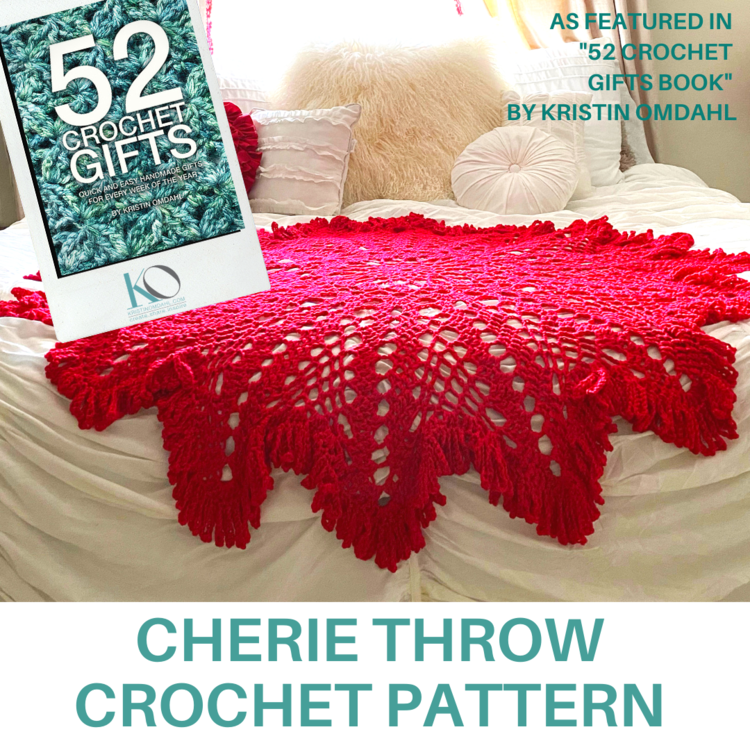 This one of a kind beautiful throw is perfect for the holidays! Pictured in Be So Baby Yarn in Cherry!