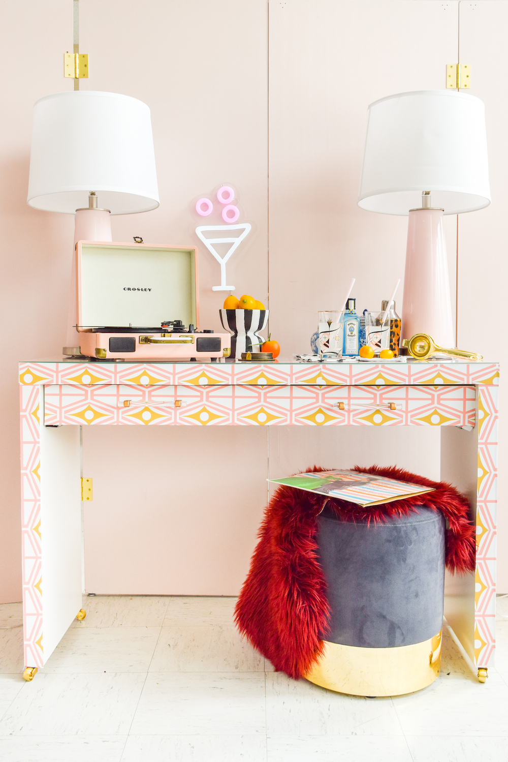 How amazing is this repurposed table using wallpaper?  Metro - Midcentury Modern Retro Geometric Fusion Pink & Gold print by Heather Dutton . Maker credit: PMQ for Two