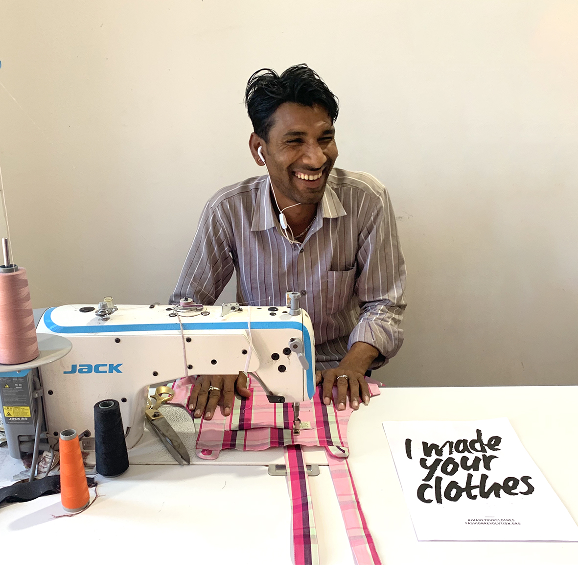 #IMadeYourClothes This is Raju making some of the limited edition Lucy & Yak dungarees in their factory in India which is powered by the sun with their fabulous solar panels!