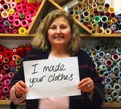#IMadeYourClothes This is Yuksel who runs a factory in North London with her husband Ali. They cut, sew, label and pack up Beyond Nine clothing before it is shipped back to Naomi and off to customers.