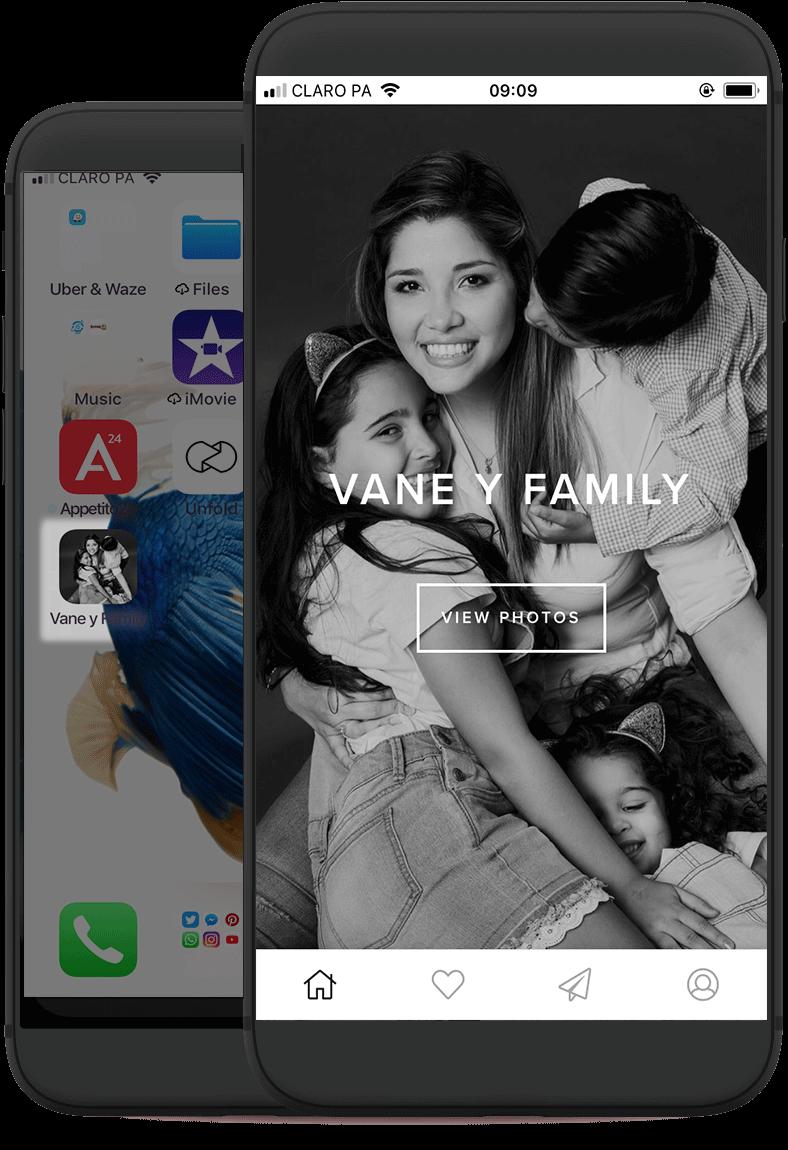 Mobile App - El Mobile Gallery App es un aplicativo móvil especialmente customizado para tu sesión que puede ser instalado directamente sobre cualquier dispositivo ios/android.