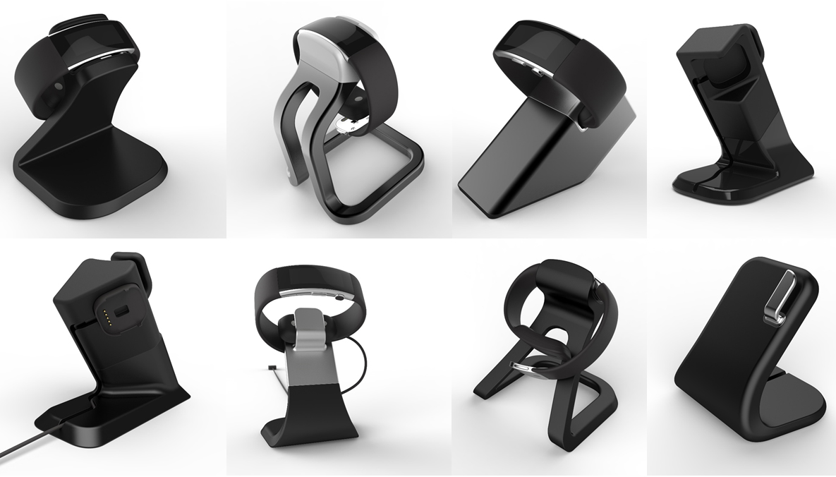 alternative designs that were rendered and 3D printed