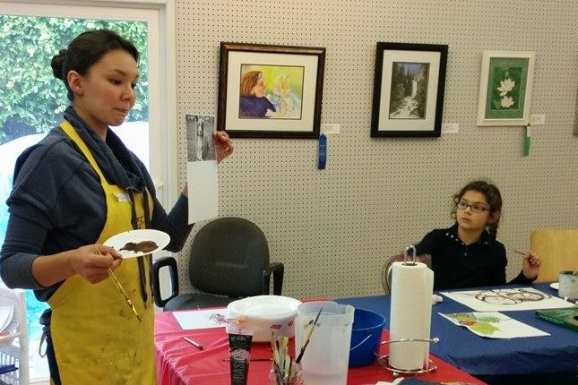 Instructor  Ashley Goodman  at the Camarillo Art Center, explaining how to see value in a painting.