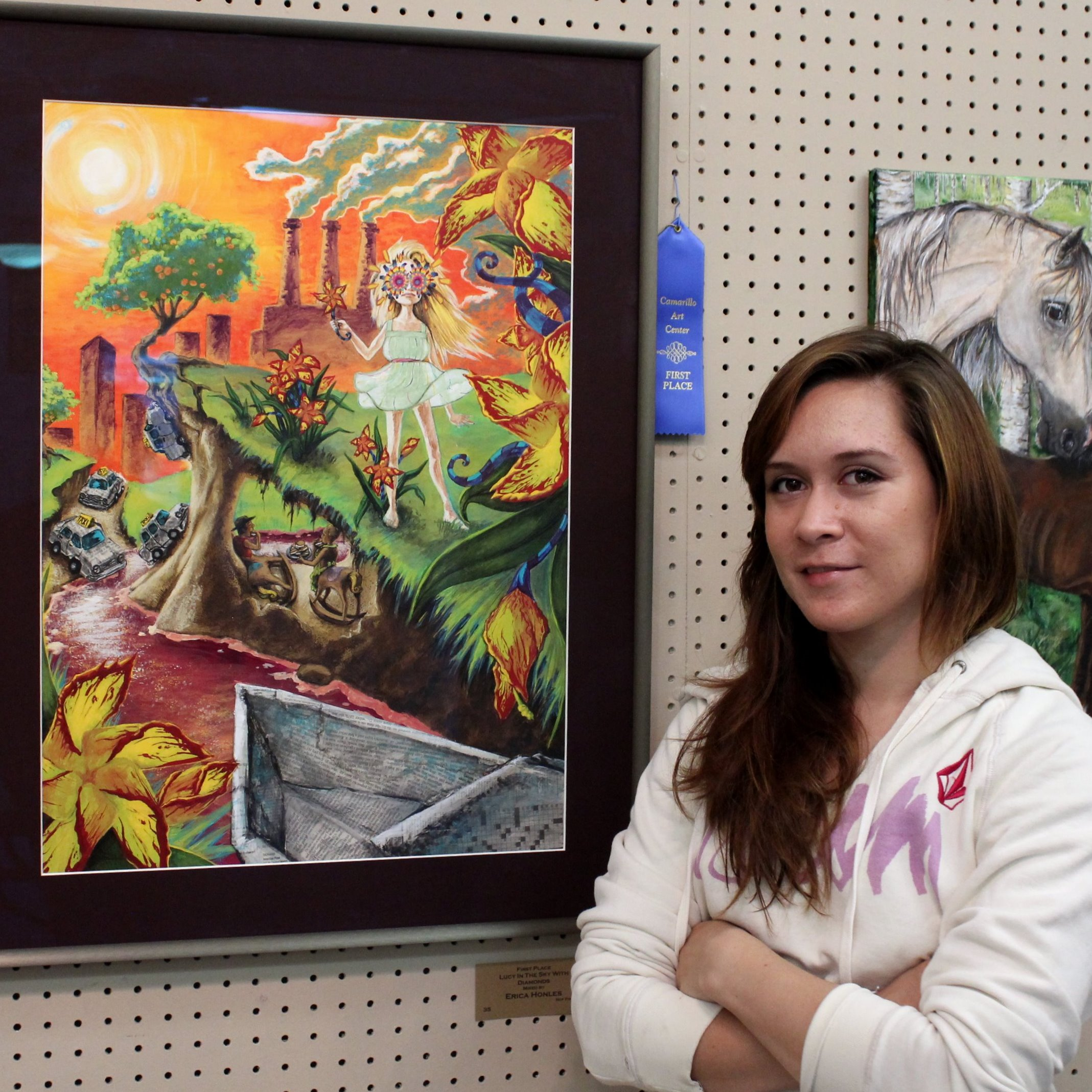 "Art Instructor  Erica Honles-Martin  with her winning piece ""Lucy in the Sky with Diamonds"""