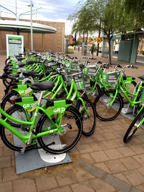 New bikes for renting right outside of Fair Trade Cafe at the Roosevelt Light Rail stop.