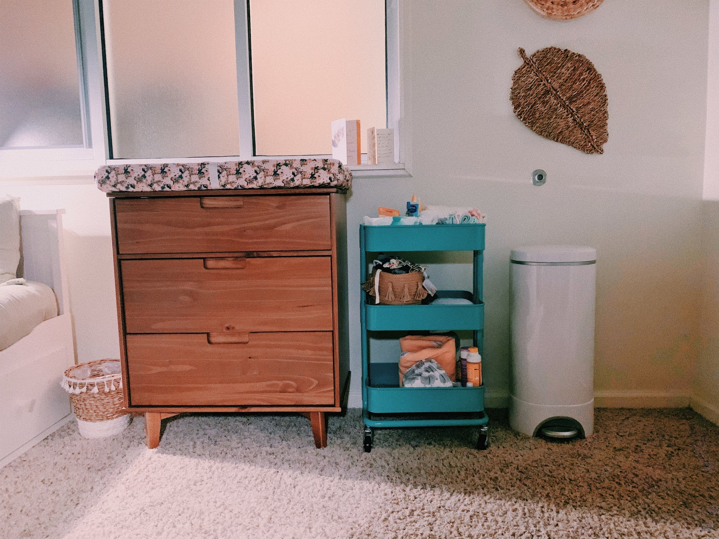 Our diaper station is stocked with tons of useful goodies that make it easy to grab.