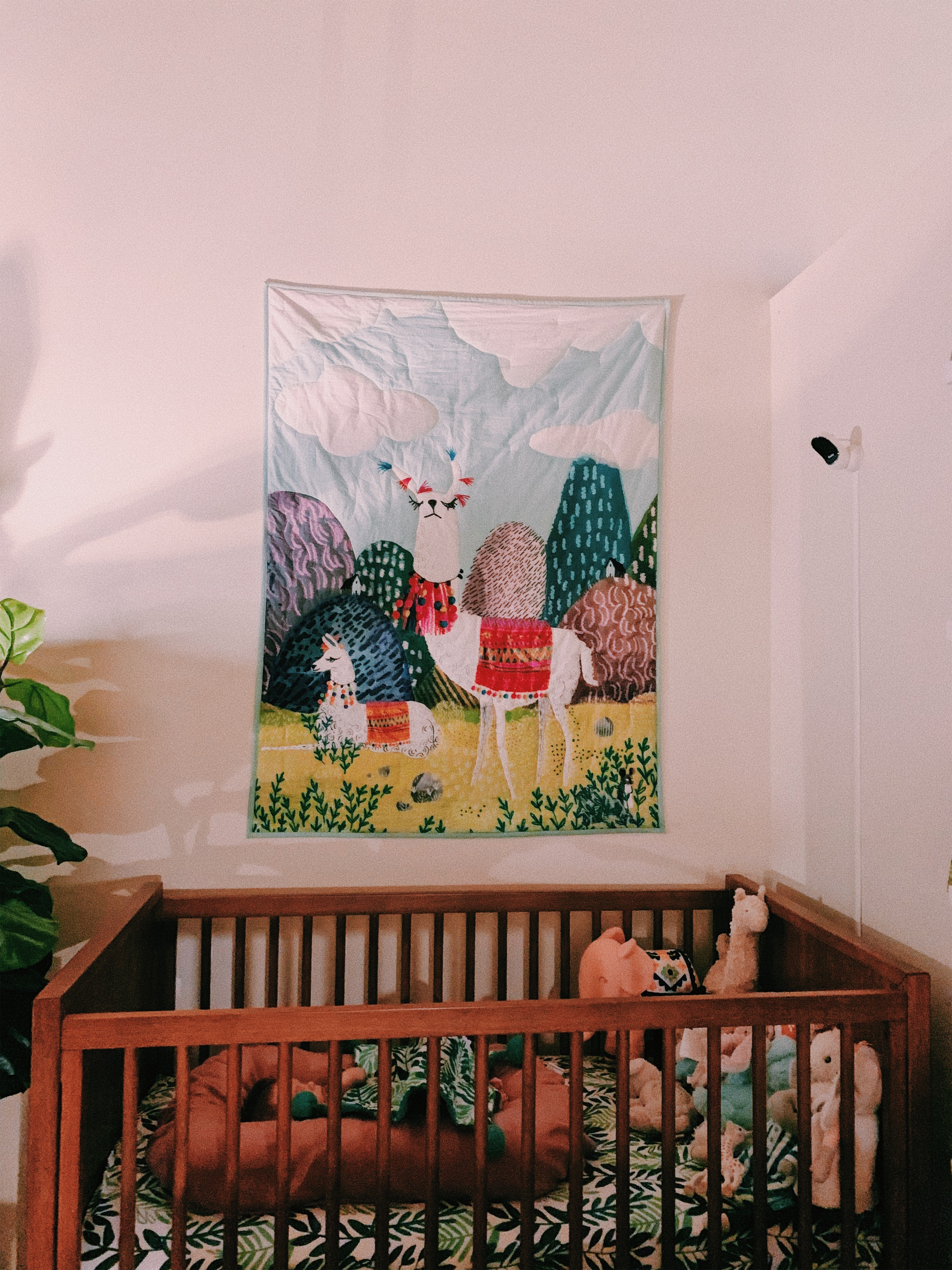 Some sweet friends gifted us this beautiful Anthropologie toddler blanket. Daniel had the idea to use it as wall art until she's big enough to use it!