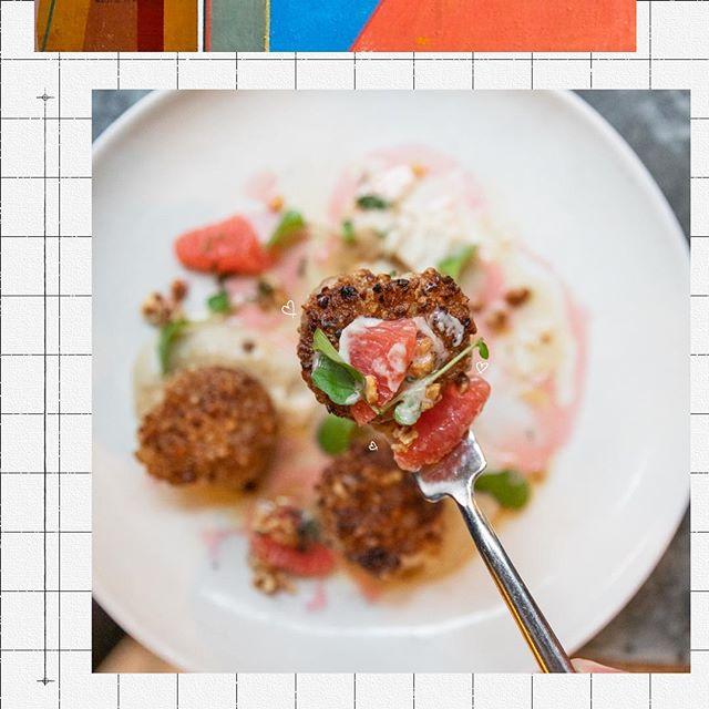 Sea specials, eat specials ♥ Hazelnut Crusted Jumbo Sea Scallops, sunchoke purée + grapefruit beurre blanc