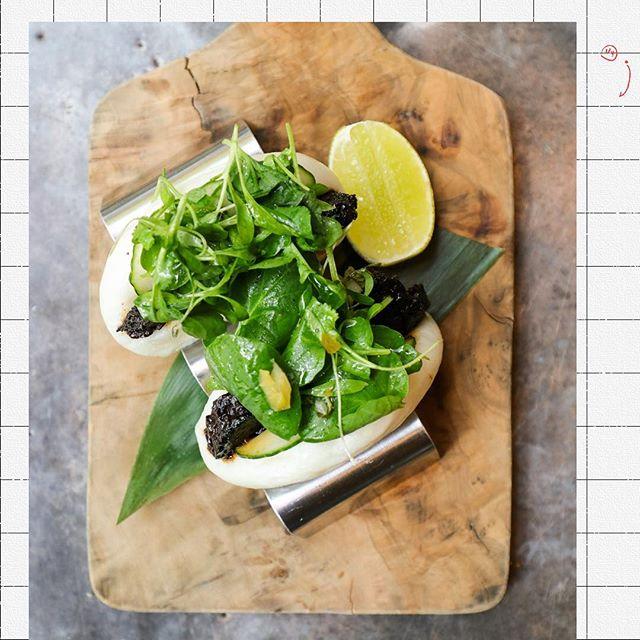How bao that // Braised Short Rib Bao Bun, hoisin bbq sauce + cucumber + pickled jalapeño chimichurri + sriracha + herb