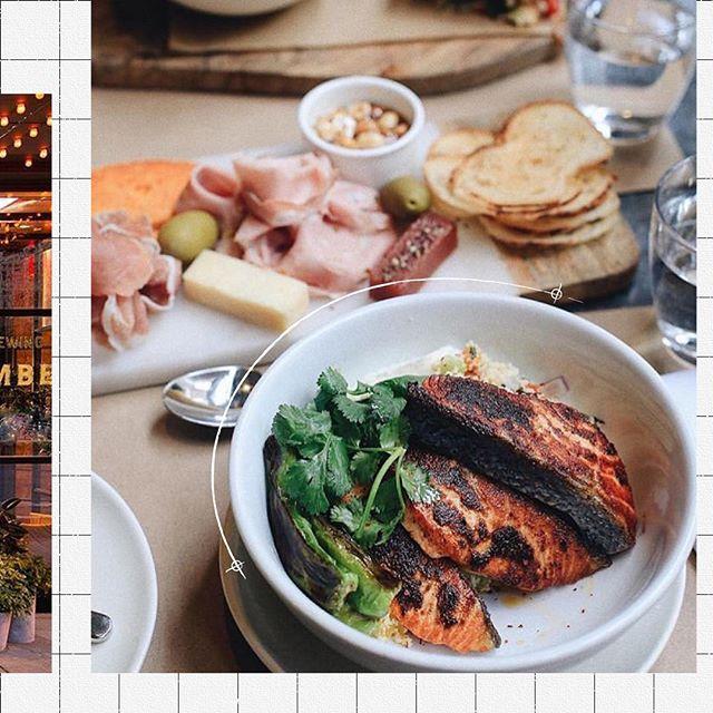 Monday's power lunch⇢ Chermoula Salmon, squash tabbouleh + charred shishitos + greek yogurt c/o @xximlingxx