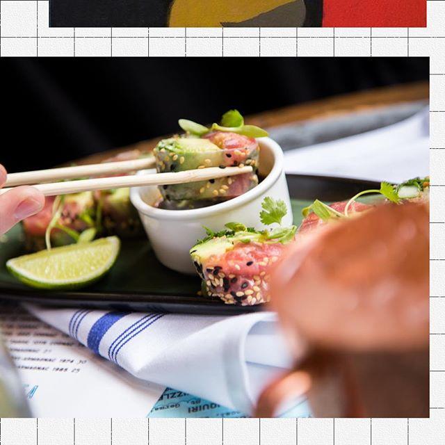 Add a big splash of flavor. Ahi Tuna Roll, avocado + basil, cilantro + sriracha + ginger soy sauce