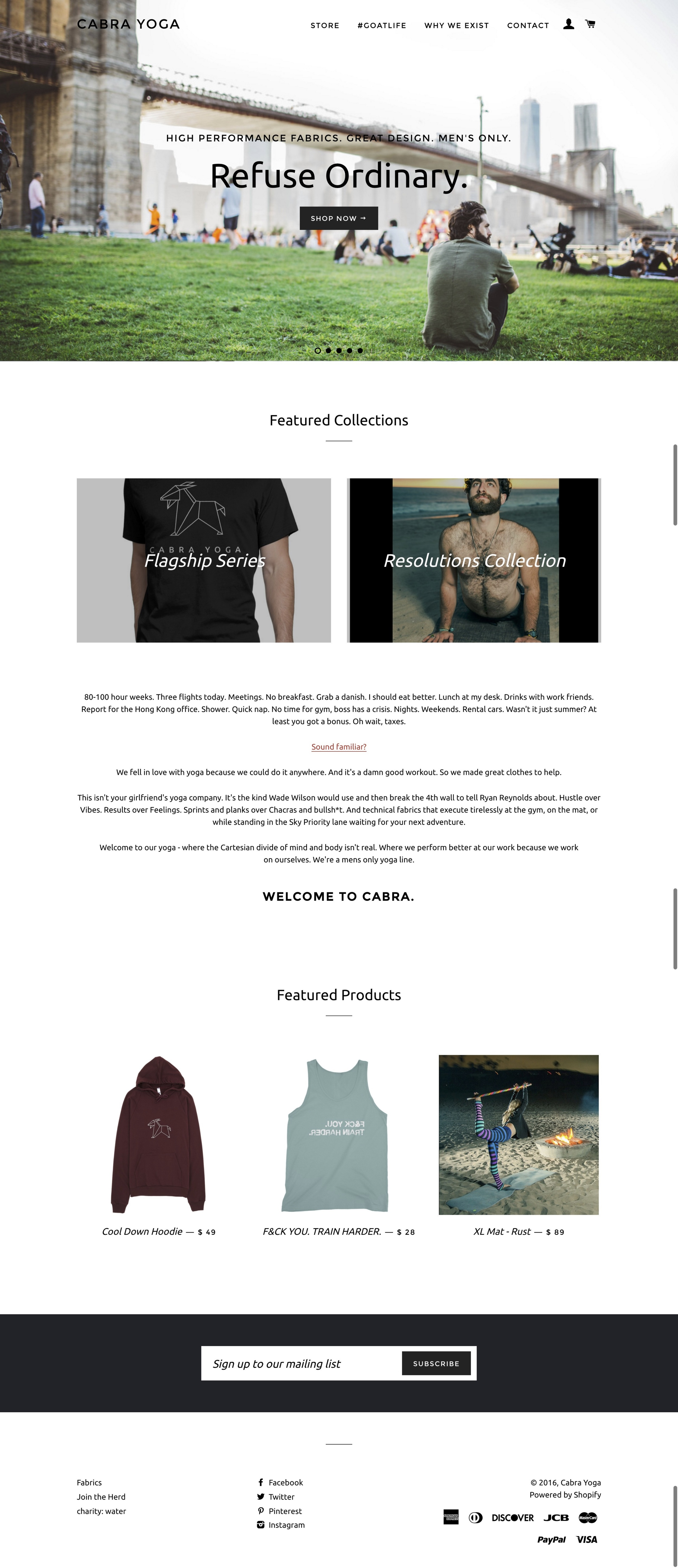 A drop-shipped men's only yoga apparel line I created from scratch. Never got traction but still happy with my designs.