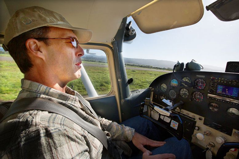 Attorney and pilot Mark Harris sits at the helm of his Cessna before takeoff. (Photo: Mary Grace McKernan)