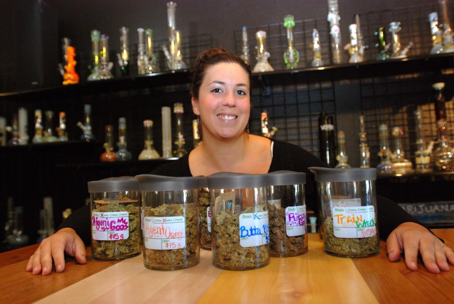 Puffs Smoke Shop in Ashland, Ore., is seeking a license as a medical marijuana dispensary. (Jeff Barnard/Associated Press)