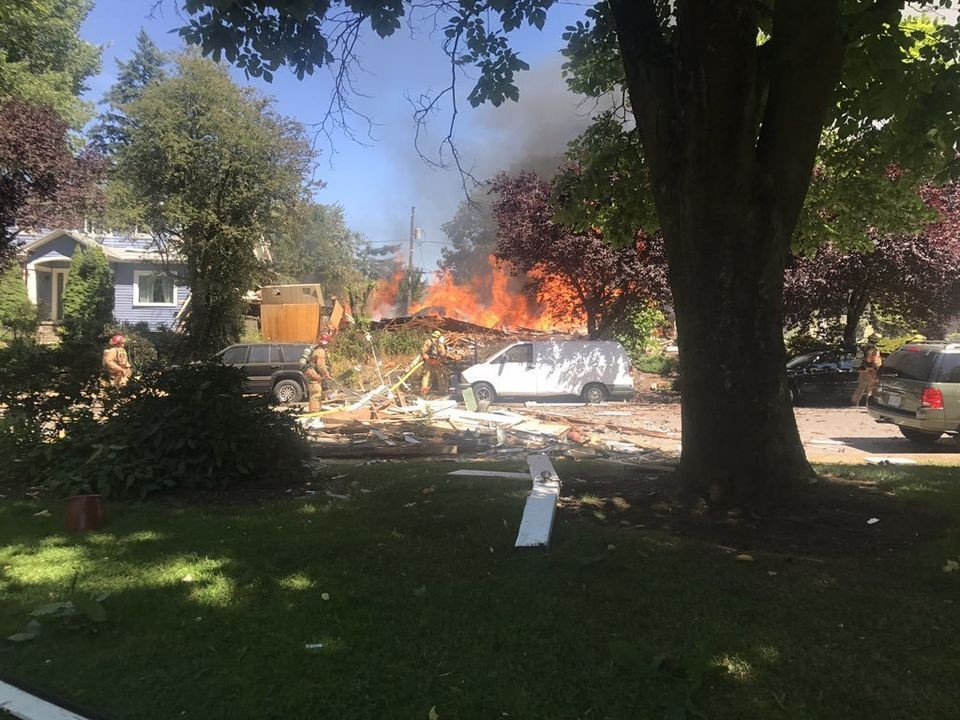 The explosion began on North Kerby Avenue, Portland on Monday afternoon. Two men died. The Oregonian/Oregonlive published these photos which were courtesy of the public, Samantha Matsumoto and Olivia Dimmer.