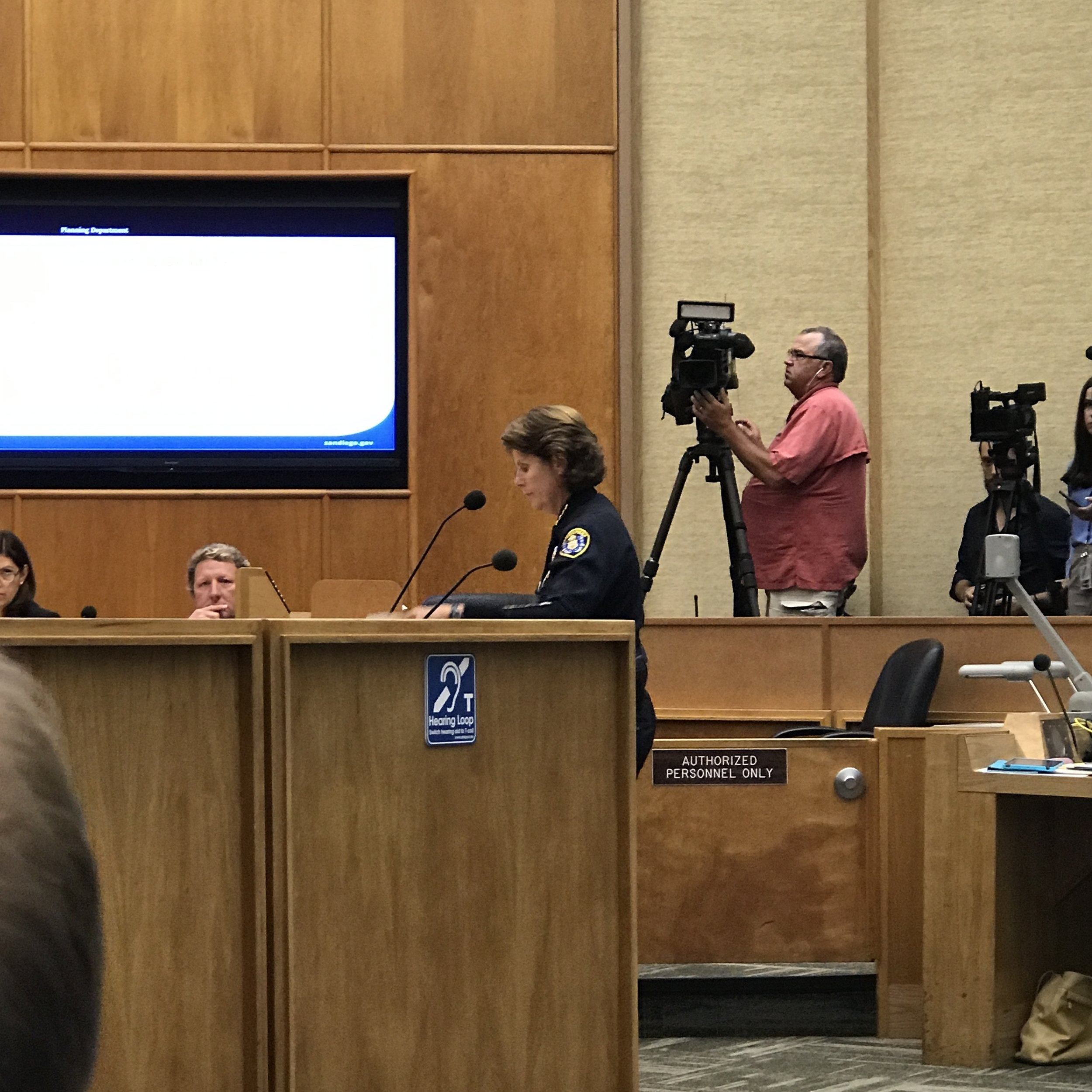 Police Chief Shelley Zimmerman giving an impassioned speech. As San Diego chief of police, she knows that the mess legalization has created will fall on her and other public safety officials to try and manage.
