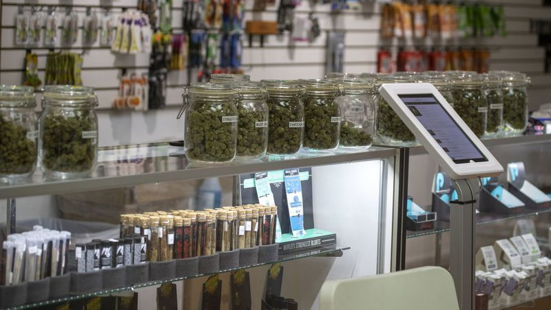 A view of an illegal marijuana dispensary after the Department of Water & Power shut off its utilities in Wilmington, Calif. on May 14. (Allen J. Schaben / Los Angeles Times)