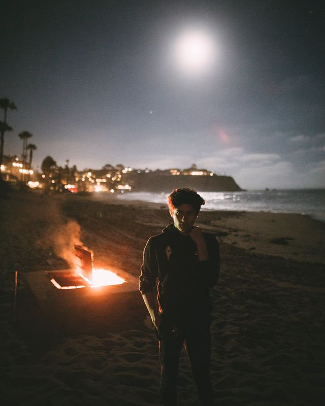 a fire at full moon ⚡️ here's a few moments from one of the most surreal nights ever, the moonlight illuminated the entire beach as we watched the waves in the distance.