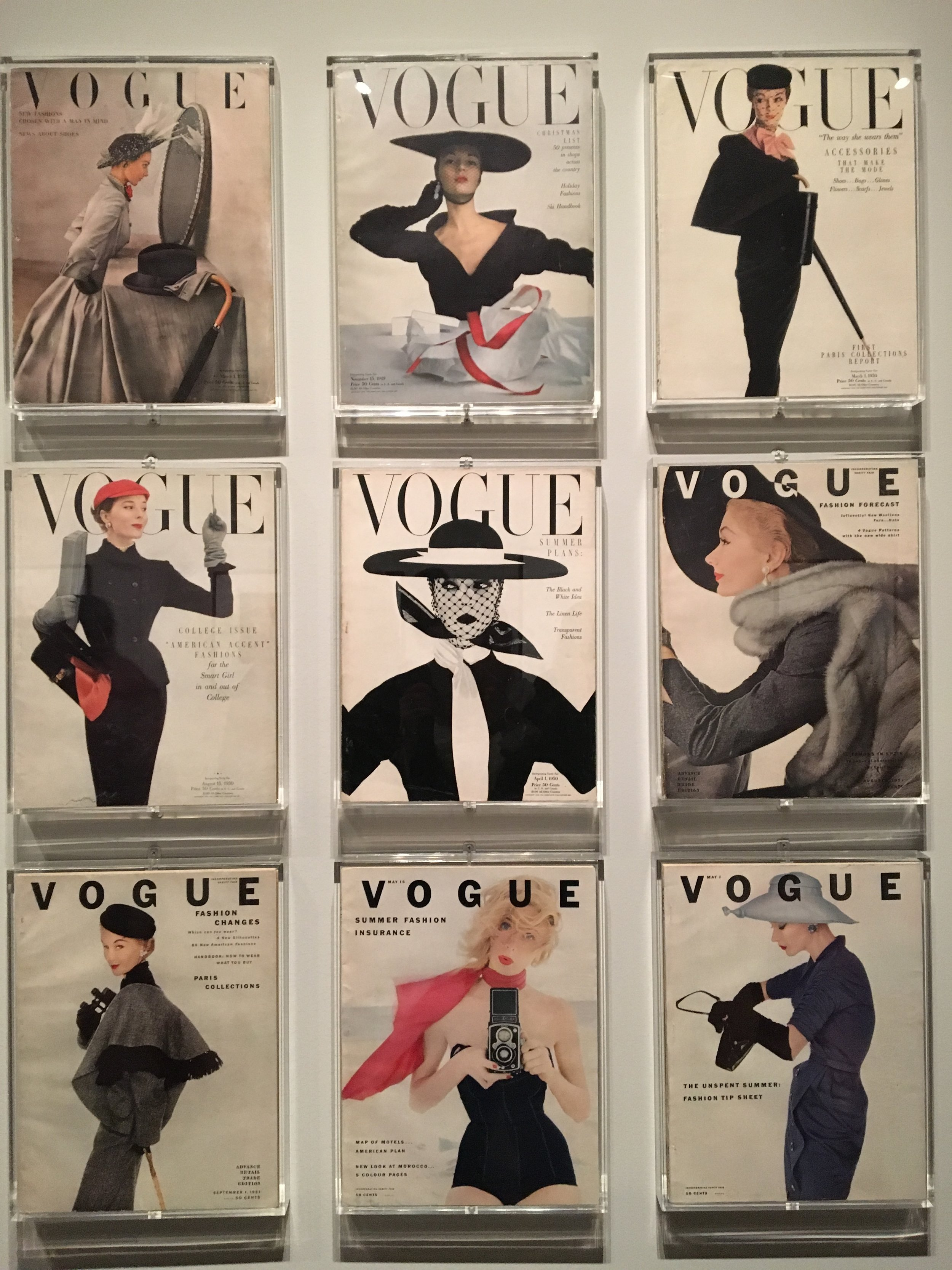The Covers - The Vogue cover in the center is the most recognizable cover Irving Penn did for Vogue, April 1, 1950.