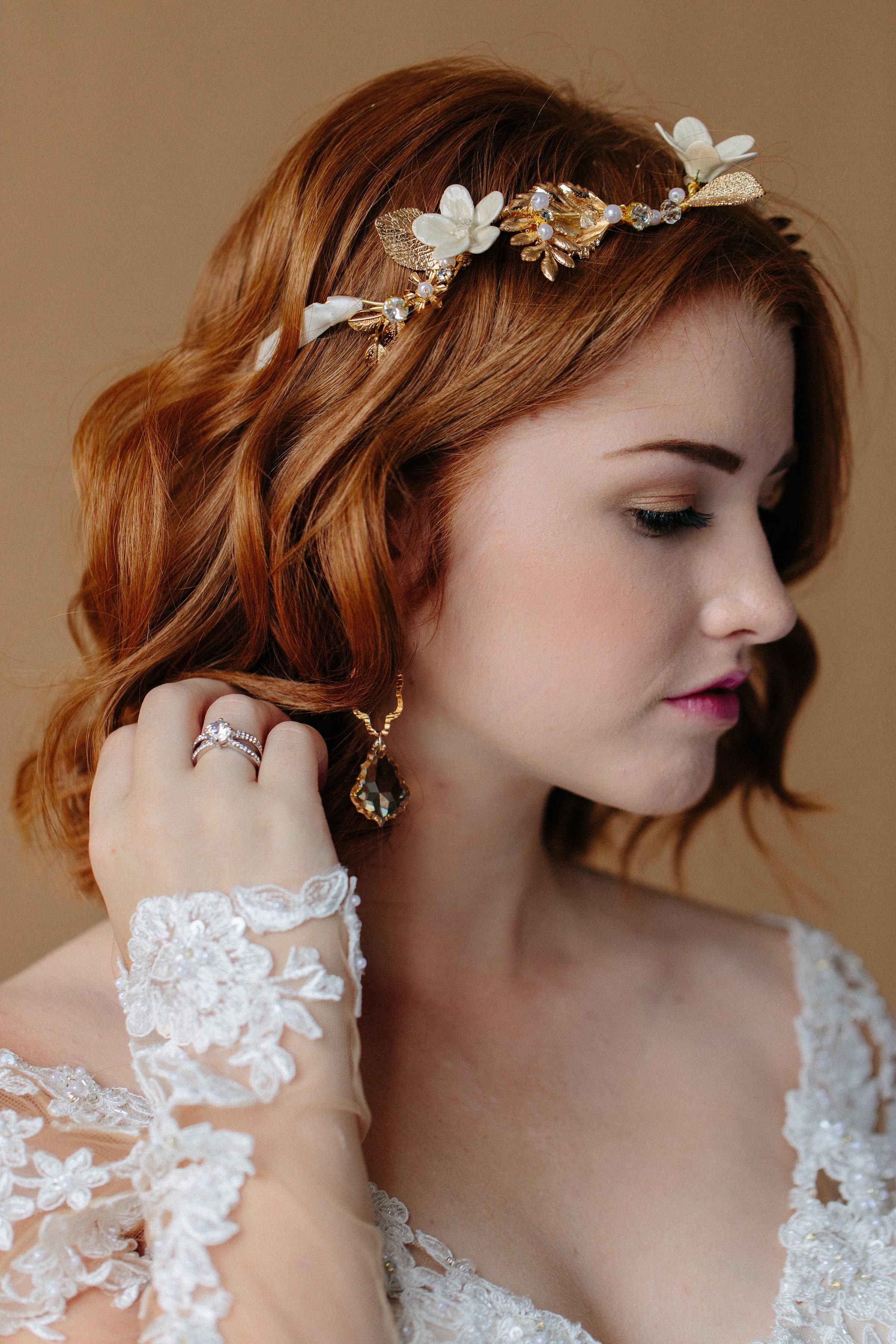 Headpiece:  Hair Comes the Bride  | Earring:  Liz Law  | Ring: Icon Stylist | Dress:  Bel Fiore Bridal , Essence of Australia | Hair & Makeup:  Corianne Elizabeth Beauty  | Photography:  Michelle Scott Photography