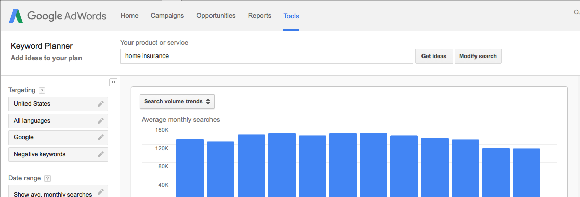 google keyword planner and research tool within adwords