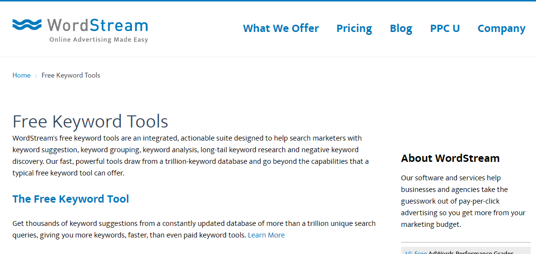 wordstream software tool