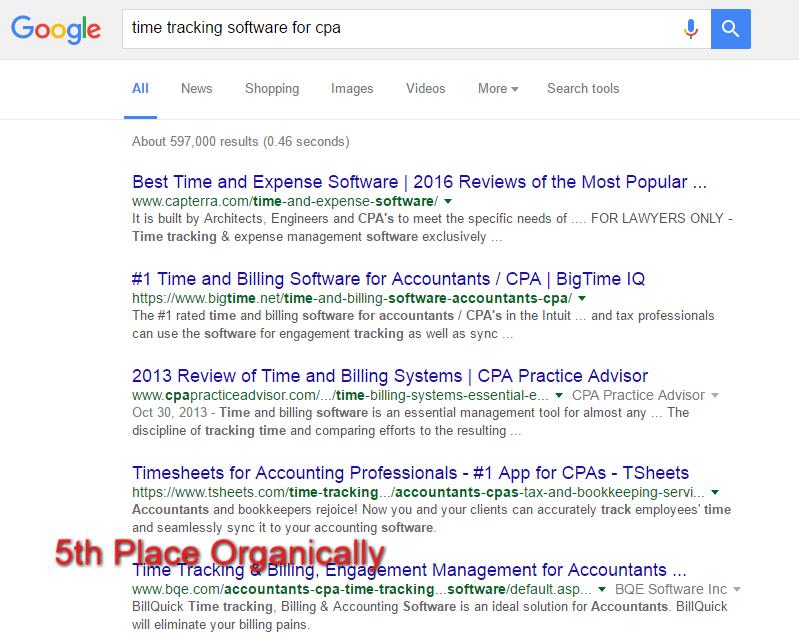 BQE Organic Ranking for CPA's
