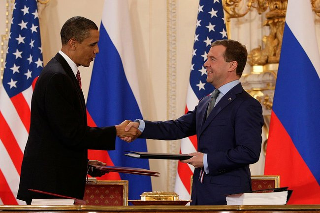 Presidents Obama and Medvedev shake hands after signing the New START Treaty, April 8, 2010, Prague, Czech Republic. Source: Wikipedia