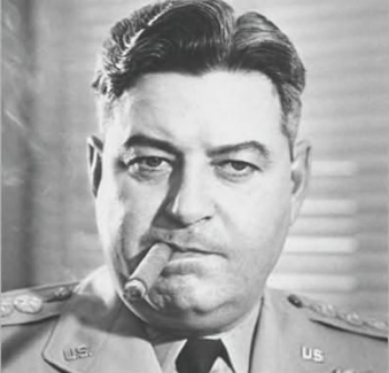 "General Curtis ""Iron Ass"" Lemay, most famous today for advocating nuclear war with the Soviets during the Cuban Missile Crisis and as the inspiration for both Generals Buck Turgidson and Jack Ripper in Dr. Strangelove."