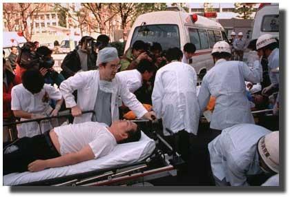 Figure 2 -  Casualties arrive by Ambulance at St. Luke's   (Source: Chikumo Chiaki, AP Wide World Photos)