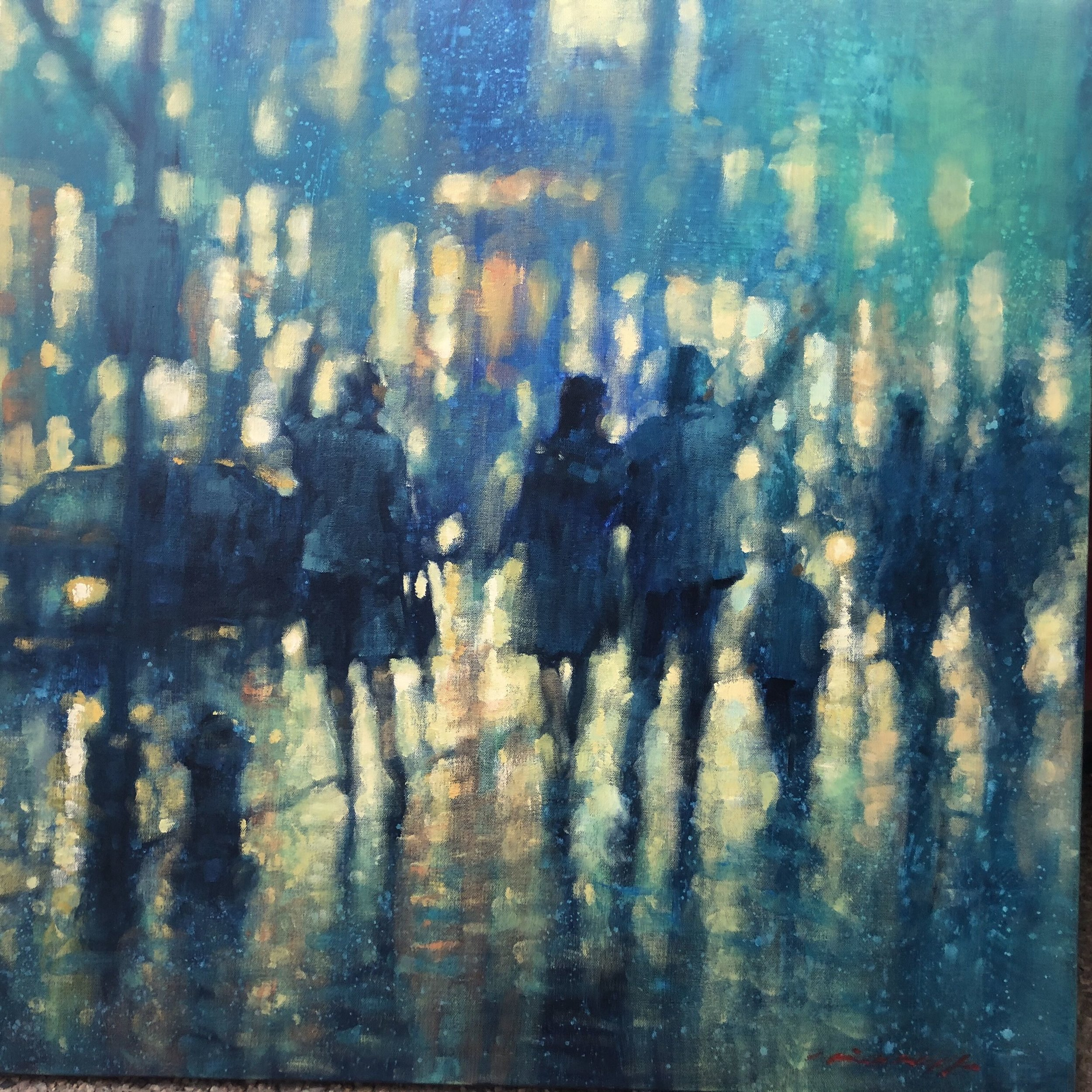 David Hinchliffe, Catching a Cab, Acrylic and oil on canvas, 91x91cm