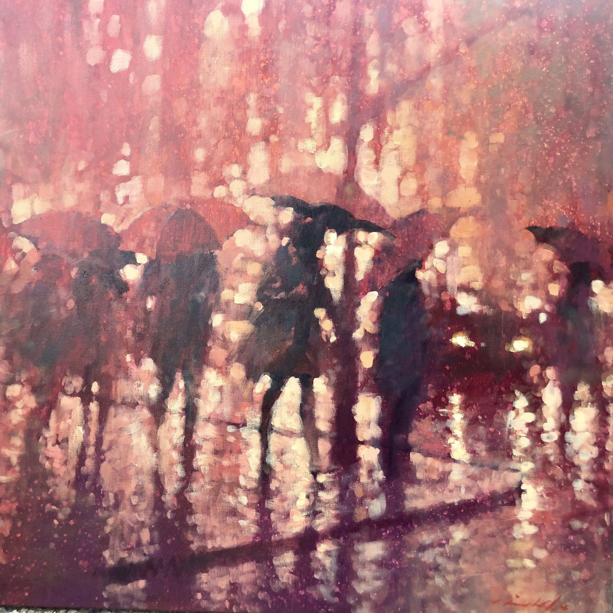 David Hinchliffe, Uptown Girl, Acrylic and oil on canvas, 91x91cm