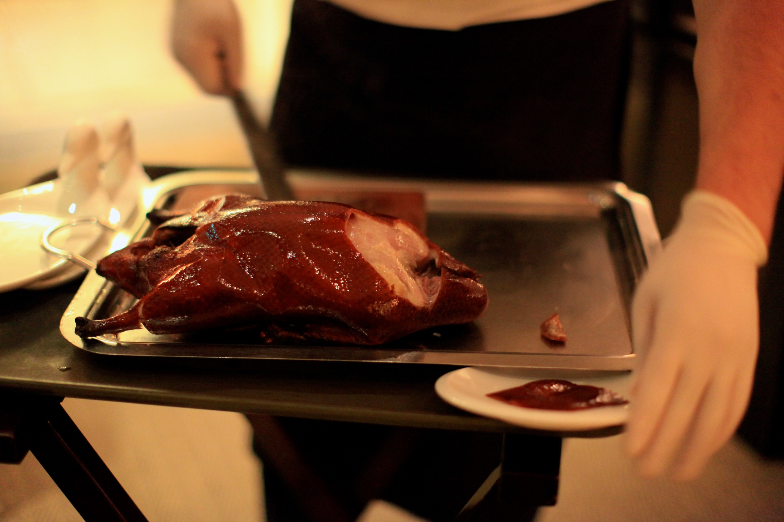 Chef carving our Peking Duck 'Live'