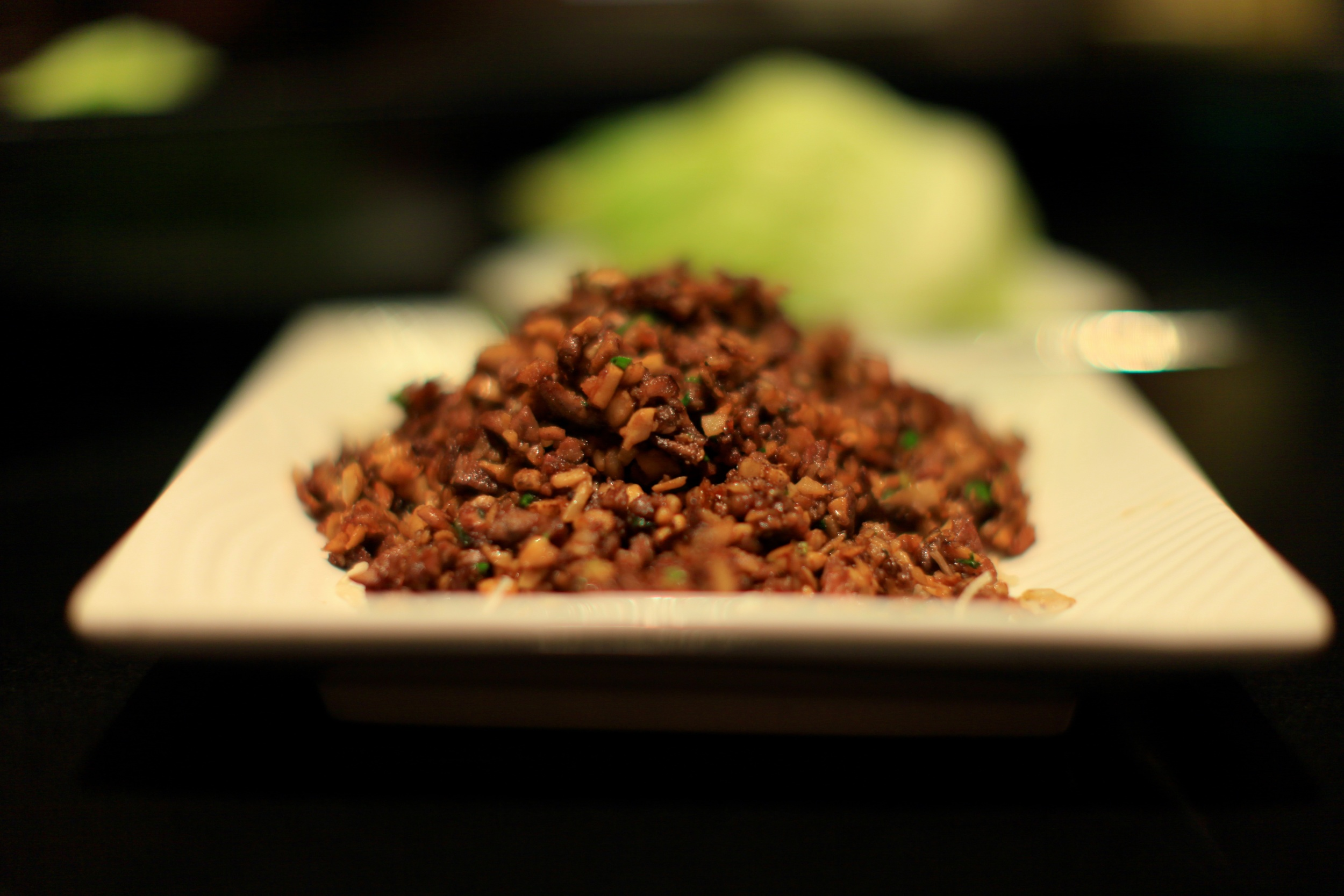 Second Preparation - Fried duck meat served with lettuce wraps